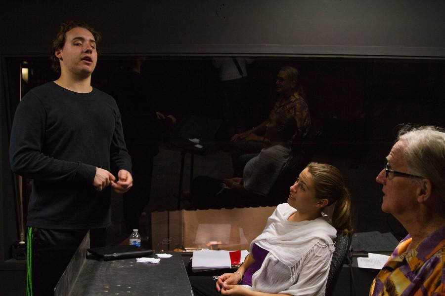 Advanced acting students (from left) Beau Jones, Britni Alleman, and Michael Thompson rehearse lines from 'The Philadelphia' in preparation for their performance in the 'One Acts' production, Monday, April 27, in a classroom above the Garvin Theatre on West Campus. 'One Acts' premieres Monday, May 4, at 7 p.m., and runs nightly through Saturday, May 9, in the Jurkowitz Theatre on West Campus.