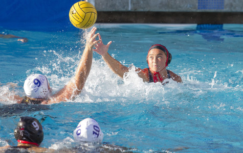 Attacker Allison Seale (No. 5) of Santa Barbara City College steals the ball from center Virginia Gustafson (No. 9) of Santa Monica Wednesday, afternoon, Sept. 23, 2015 at San Marcos High in Santa Barbara, Calif. She made five goals and three steals throughout the game helping City College beat Santa Monica 14-0.