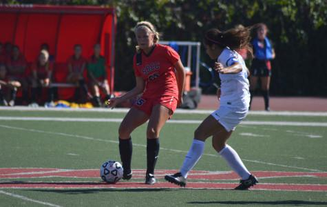 Josefine Von Der Burg (No. 25) for Santa Barbara City College dribbles the ball against San Bernardino College's Darrian Gonzales (No. 33) during the game at La Playa Stadium in Santa Barbara, Calif. on Tuesday Sept. 29, 2015. Von Der Burg scored twice for City College during the game, which ended with San Bernardino winning 4-2.