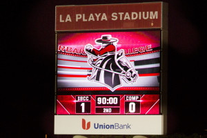 The new video scoreboard at La Playa Stadium, showing the score of a Vaquero men's soccer match Tuesday night, Sept. 8.