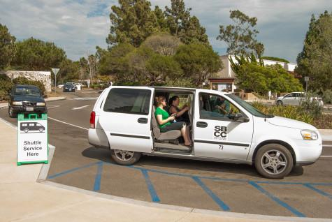 A free park-and-ride shuttle van headed to the Wake Campus carries student Amanda Probst (left), Culinary Arts staff Kaylene Thomas, and driver James Chambliss Thursday, Sept. 10 on East Campus. Two shuttle vans circulate daily from the Wake Campus and the Garden Street parking lot as part of SBCC Commute program