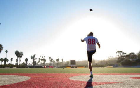 Vaquero's punter Joel Whitford, 22, has moved a long way from his hometown in Neerim South, Australia, to play for the Santa Barbara City College football team, Friday afternoon, Oct. 2, at La Playa Stadium. Before coming to Santa Barbara, Whitford trained with Prokick Australia in kicking and punting; this season is his first experience playing American football.