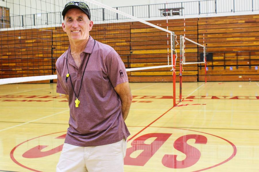 Ed Gover, head volleyball coach at Santa Barbara City College, has been coaching the lady Vaqueros for over 20 years. He has won four coach of the year awards and the Vaqueros have won three straight conference titles and over 300 matches under his leadership.