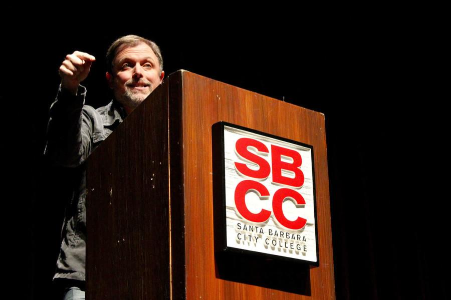 Tim Wise, anti-racist author and educator, is the keynote speaker at the annual Leonardo Dorantes Memorial Lecture on Tuesday, Nov. 10, in the Garvin Theatre at City College. Wise's speech, entiled 'Resurrecting Aparthied, from Ferguson to the Voting Booth to the Border- Combating Racism in the Post-Obama Era,' discussed the topics of white priviledge, discrimination, and police brutality.