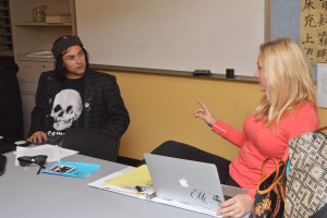 Jon Vreeland, left, and Rachel Bower discuss upcoming events during a Creative Writing Club meeting on Thursday, Nov. 5 in Santa Barbara. Vreeland is the President of the club and Bower is the Vice President.