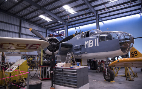 This World War II Mitchell Bomber is the focus of a major fundraising effort by the students in the Marketing 101 class of professor Julie Brown, Friday, Nov. 6, in the main hangar of the Commemorative Air Force, Southern California Wing in Camarillo.