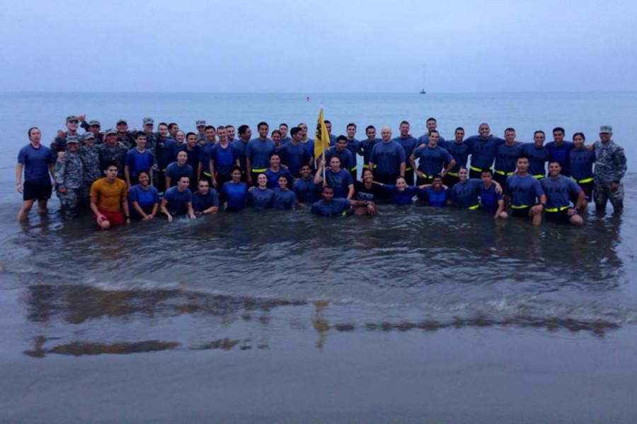 Students enrolled in the University of California, Santa Barbara Reserve Officer Training Corps, during beach physical training at Goleta Beach, 2014. Image courtesy of Cody Thompson, Santa Barbara City College sociology major who is dual enrolled in the UCSB program.