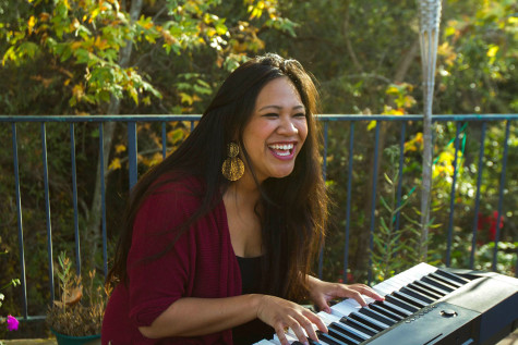 Leana Movillion sang with a voice and musical talent that won her the City College Encore Singing competition, pictured Sunday afternoon, Nov. 22 at her home in Santa Barbara. She is running her own business on the side while pursuing her musical passions.