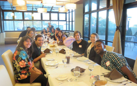 The Guardian Scholars at their Thanksgiving dinner, Monday, Nov. 23, in the John Dunn Gourmet Dining Room on East Campus. Image courtesy of Alejandra Martinez-Castillo.