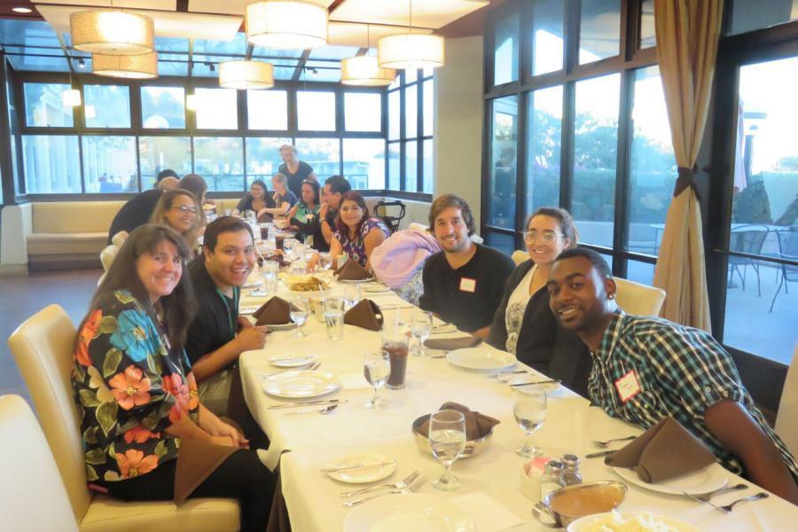 The Guardian Scholars at their Thanksgiving dinner, Monday, Nov. 23, in the John Dunn Gourmet Dining Room on East Campus. Image courtesy of Alejandra Martinez-Castillo.