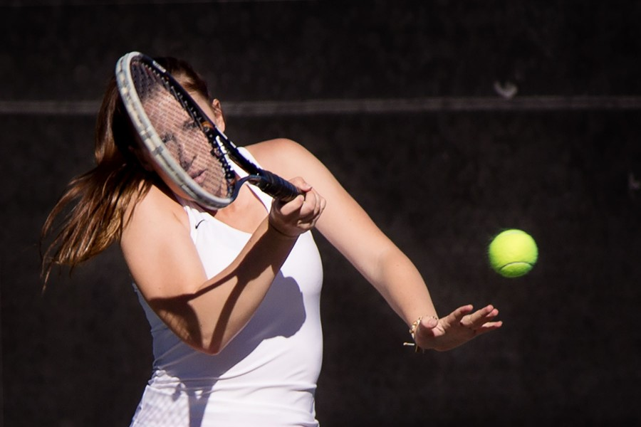 Tyler Bunderson of the City College Women's Tennis team quickly returns the ball during the tennis match against the Santa Monica Corsairs at Pershing Park on Tuesday, Feb. 16. The Vaqueros won 9-0.