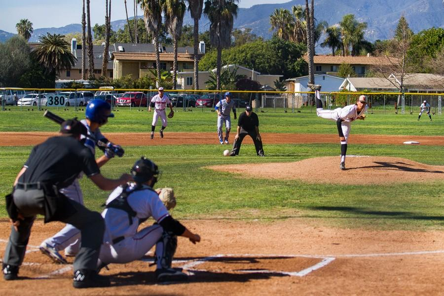 Santa+Barbara+City+College+Vaqueros+men%E2%80%99s+baseball+team+played+host+to+the+Condors+from+Oxnard+College+on+Thursday+afternoon%2C+Feb.+25%2C+at+Pershing+Park+in+Santa+Barbara.+Starting+Pitcher+Steven+Ledesma+gives+up+a+run+scoring+single+in+the+first+inning+before+settling+down+and+helping+his+team+record+a+%287-2%29+victory+over+the+Condors.