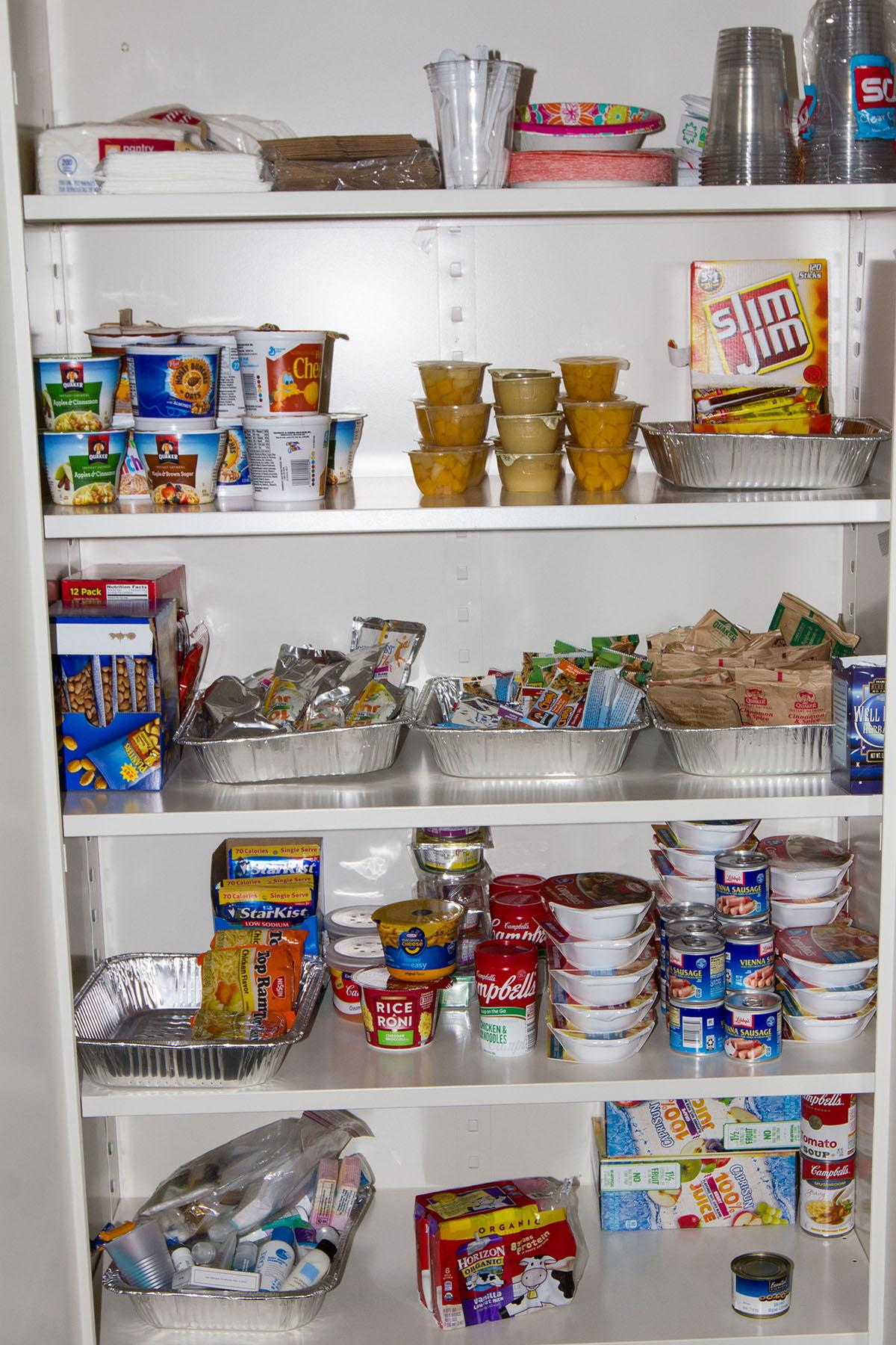 Collected and donated food sits in the pantry in Silvia Suayfeta-Cortez's  office in the EOPS Center on the second floor of the Student Services Building on Feb. 17. Students who are eligible can collect food there whenever EOPS is open.