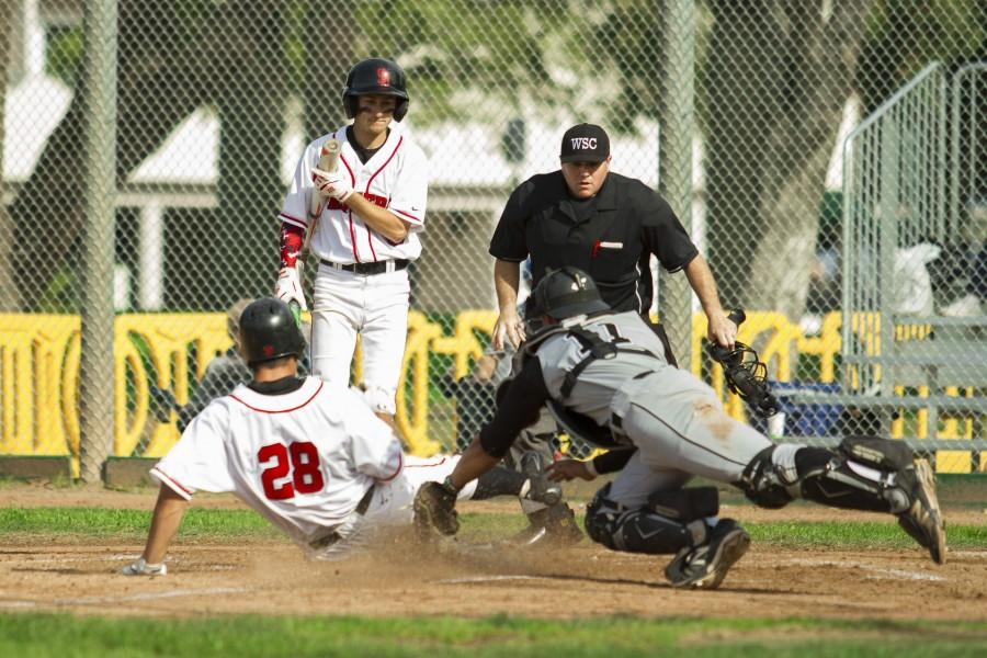 Tyler Rosen (No. 28) hit an RBI triple to get to third and scored on sacrifice fly by Nicolas Allman Tuesday afternoon, Feb. 23, at Pershing Park. Rosen slid underneath the tag at home plate giving the Vaqueros a 2-1 lead.
