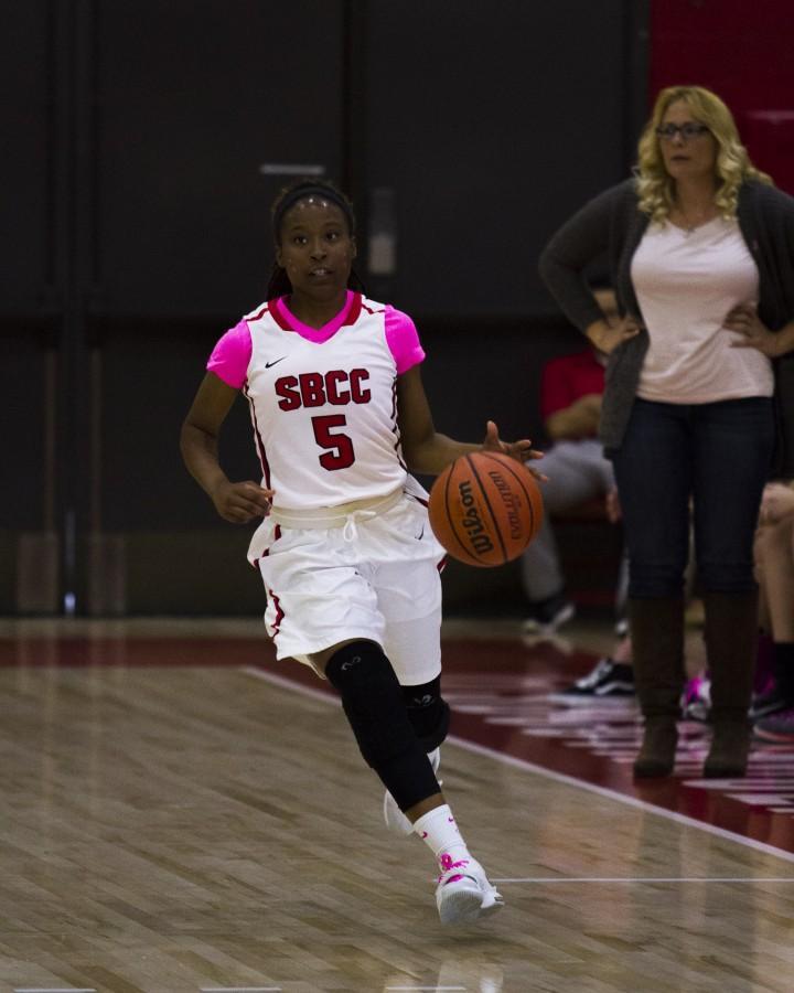 City College's Christina Mattis scored nine points and had season-high six rebounds Saturday, Feb. 20, at the Sports Pavilion. City College beat LA Pierce, 58-53.