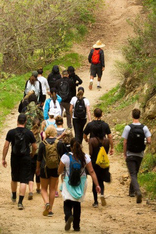 Physical education instructor Randy Moharram leads students up the San Ysidro trail in Montecito, Calif. on Friday morning, March 6. The trail narrows and winds its way up the canyon following San Ysidro creek for the first couple of miles.