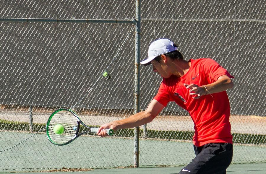 Andrew Tufenkian executes a winning forehand volley on Tuesday afternoon, March 8, at Pershing Park. Despite losing his first set (1-6), Tufenkian was able to rally and comeback to win his match (1-6, 6-0, 7-5), and help his team to shutout L.A. Pierce College, 9-0.