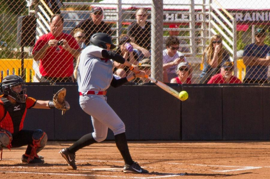 The+City+College+Lady+Vaqueros+softball+team+hosted+the+Ventura+College+Pirates+Thursday%2C+March+24%2C+at+Pershing+Park.+Sydney+Townes+gets+a+well+placed+hit+that+scored+two+runs+for+the+Lady+Vaqueros%2C+boosting+them+to+a+9-1+victory+over+the+Pirates.
