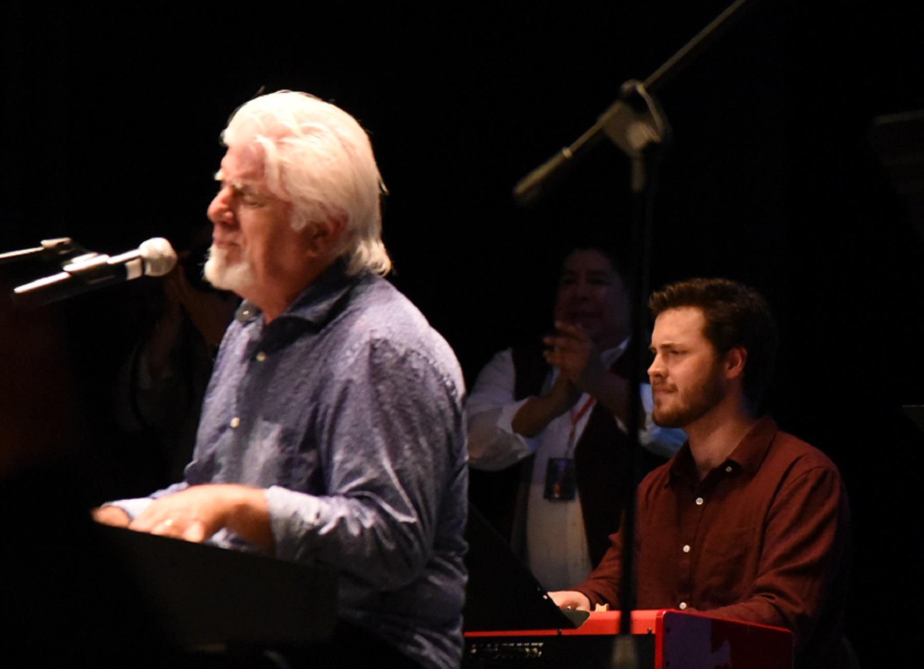 City College's New World Jazz Ensemble's pianist Benjamin Huston plays with Michael McDonald, five-time Grammy Award winner and former member of Steely Dan and The Doobie Brothers, at a benefit concert for the Alano Club of Santa Barbara on March 6, at La Cumbre Junior High School Theatre.  Earlier this year, McDonald came to City College and asked several City College students to play with him at the benefit.