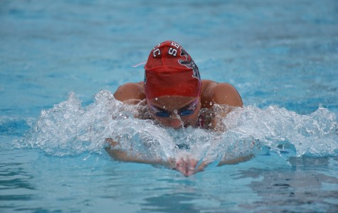 Santa Barbara City College's Addison Seale dominated the field in the women's 200 yard individual medley at the first Western State Conference swim meet on Saturday, March 5, at the Ventura Aquatic Center. The Vaqueros won 10 of the 11 events they swam in.