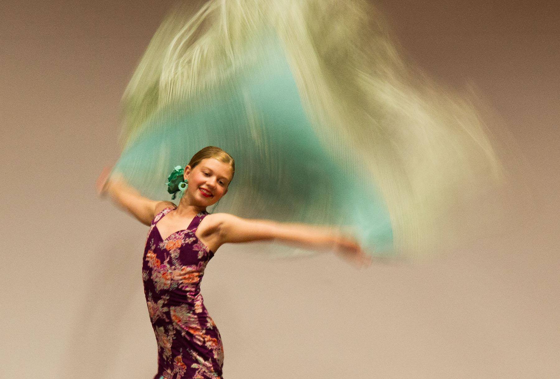 This year's Junior Spirit of Fiesta, Sarah Naretto, a 10 year old from La Patera School, performs for attendees of the sixth annual Art Without Limits; Art Career Day Conference on Saturday, April 23, 2016, in the FeBland Forum at Santa Barbara City College. Naretto, a two time finalist for the Junior Spirit of Fiesta title, has been flamenco dancing at the Zermeno Dance Academy since she was seven years old.