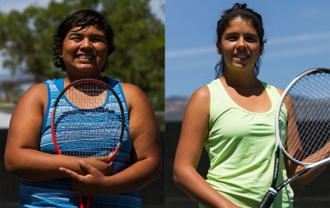 Sisters (from left) Kassie and Maddie Ortiz are members of the Santa Barbara City College All Western State Conference tennis team, Thursday, April 21, at Pershing Park tennis courts Santa Barbara.