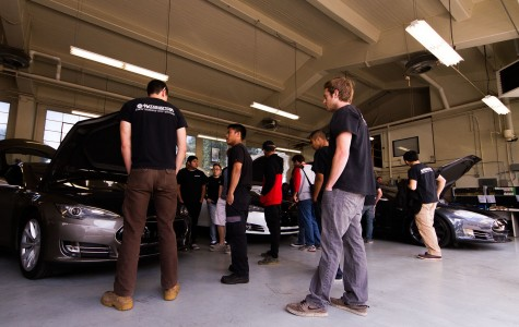 Tesla Motors visited Santa Barbara City College's Automotive Service / Technology Department on Wednesday, April 6, in Santa Barbara to discuss the future of alternative fuel transportation industries and the need for trained technicians to support the rapid growth in these fields. Tesla Motors, has been a buzz in the news lately with the offering of its' new Model 3 that boasts a base sticker price of $35,000, that Tesla says should target the average household.