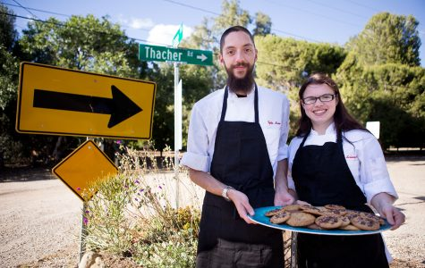 Tyler Baio and Anna Schneider hold a platter of their home baked Thacher Road Cookies Thursday afternoon, April 28, in Ojai. Baio and Shneider are City College alumni, having graduated from the Culinary program. The name Thacher Road Cookies originates from the street Baio grew up on in Ojai.