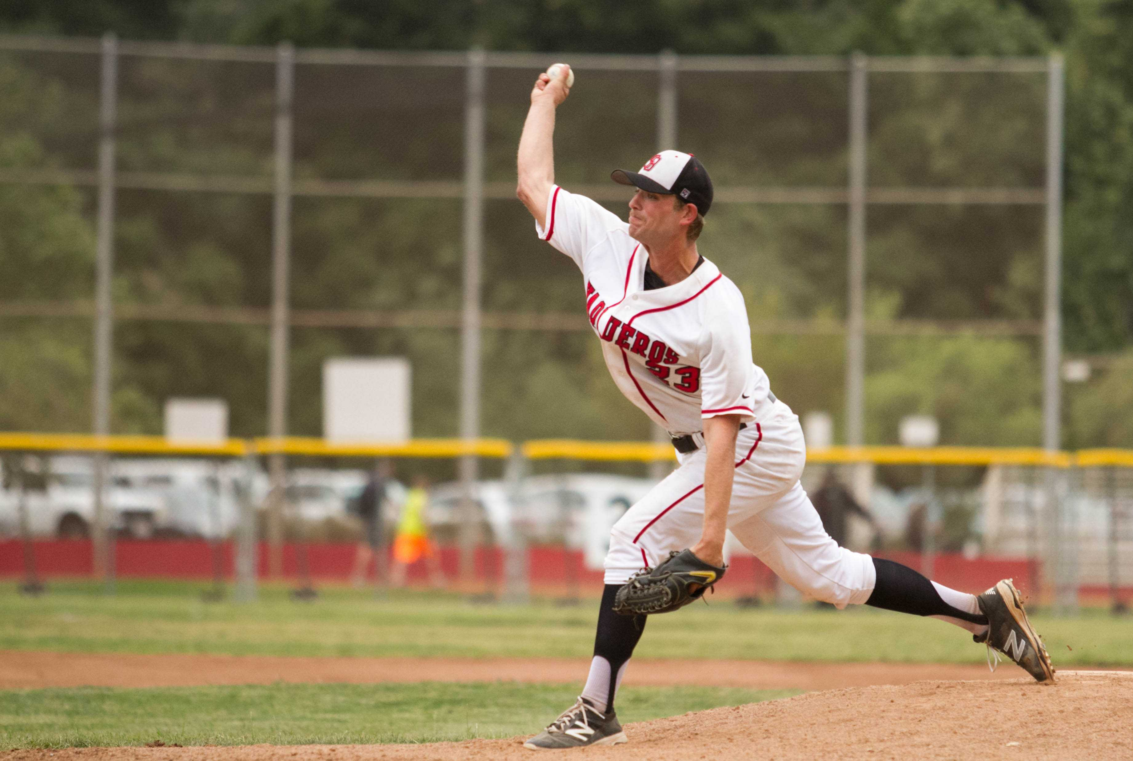 Vaquero's Pitcher Ian Clark (No. 23) contributed to the team's four game winning streak, now moving them in first place in Western State Conference North Division on Thursday, April 7, at Pershing Park in Santa Barbara. The Vaqueros beat Oxnard 2-0.