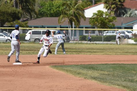 City College infielder Michael Montpas, No. 5, rounds second base on his to third base for his stand up triple on Friday, April 29, at Pershing Park in Santa Barbara Calif. The Vaqueros lost the game 7-3 but finish the season in second place and begin the playoffs on Friday, May 6.