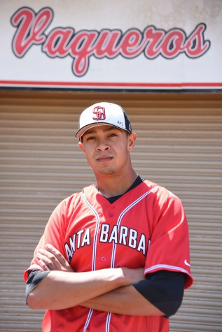 City College infielder Nic Bereaud has been the Vaqueros baseball powerhouse this season, Monday, April 11, at Pershing Park in Santa Barbara. Bereaud leads the Western State South Division in both runs batted in with 30 and home runs with 7.
