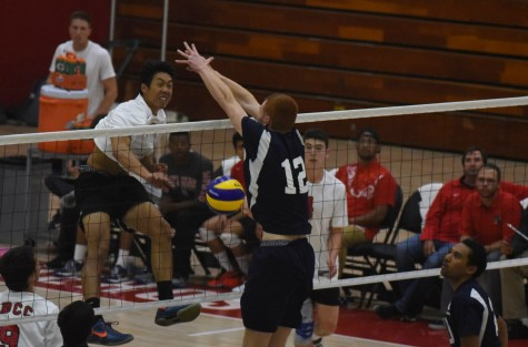 Vaquero Matt Hall (No. 6) records one of his eight kills on Friday, April 8, at Santa Barbara City College in the Sports Pavilion where City College hosted El Camino College. The Vaqueros were unable to hold off the Warriors offense and fell in three straight sets.