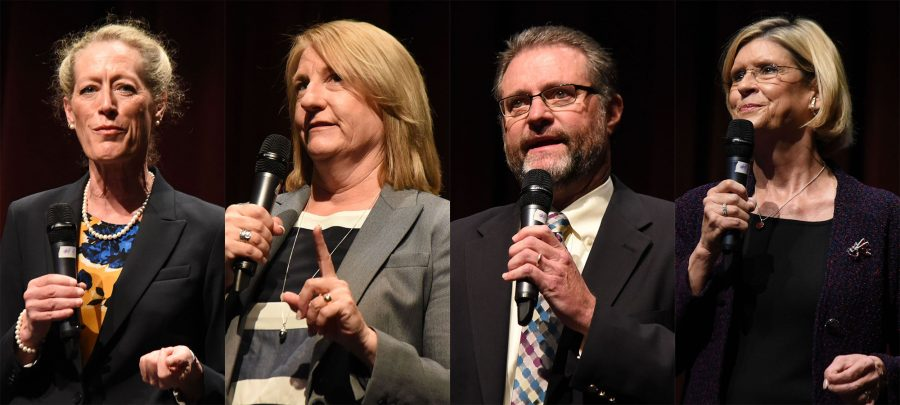 The four finalists for the President/Superintendent position for City College, (from left) Dr. Melinda Nish, Dr. Jill Stearns, Dr. Anthony Beebe and Dr. Kindred Murillo speak at the community forum on Monday, April 25, in the Garvin Theatre at Santa Barbara City College. The Board of Trustees will make the final decision on who will take over for retiring President/Superintendent Lori Gaskin.