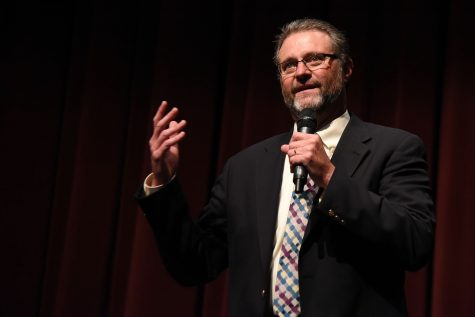 Dr. Anthony Beebe speaks at the community forum on Monday, April 25, in the Garvin Theatre in Santa Barbara City College. Beebe is one of the four finalists for City College's President/Superintendent position.