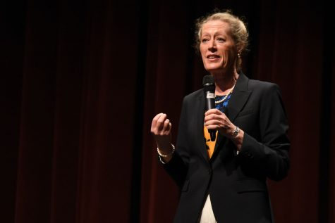 Dr. Melinda Nish speaks at the community forum on Monday, April 25, in the Garvin Theatre in Santa Barbara City College. Nish is one of the four finalists for City College's President/Superintendent position.