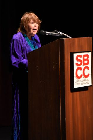 """Pat Mora gave the 47th annual May Hill Arbuthnot Honor Lecture that she titled """"Book Joy! ¡Alegria en los libros!"""" on Friday evening, April 15, in the Garvin Theatre at Santa Barbara City College. Before Mora started writing children's books, she was a teacher and a university administrator."""