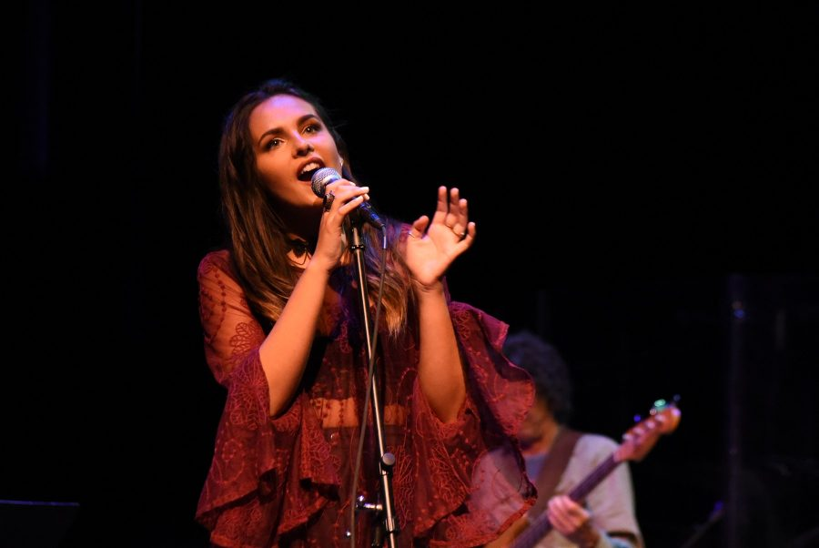 Catalina Bull sings during the final 'Music Now' concert on Friday, April 22, in the Garvin Theatre at Santa Barbara City College. 'Music Now' is a concert that presents a diverse collection of all types of music.