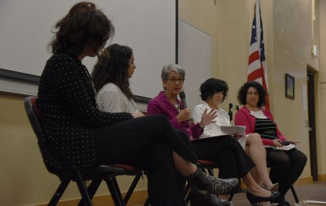 "Senator Hannah-Beth Jackson, center, talks about female leadership with fellow panelists, from left, Dr. Phyllisa Eisentraut, Chiany Dri, Julie Samson and Mayor Helene Schneider during the 'Shaping the 21st Century"" conference hosted by City College's Honors Society on Friday, April 15, at Santa Barbara City College. There are three sections to the conference, ""War and Civilization,"" ""Female Leadership"" and ""Social (Dis) Trust."""