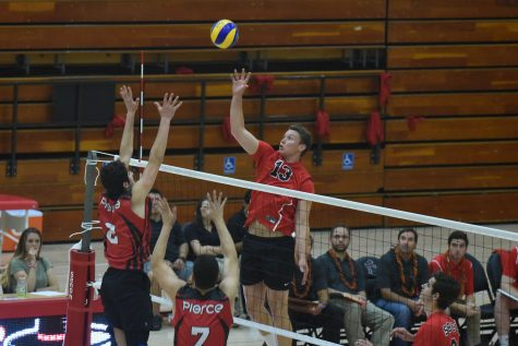 Vaquero Jackson Wopat, playing his last game for City College, hits one of his eight kills against Los Angeles Pierce College on Friday, April 15, in the Sports Pavilion at Santa Barbara City College. City College could not collect the win for the final game of the season and fall 3 games to 1 with scores of 21-25, 25-23, 25-21 and 25-12 against the Brahmas and finish the season 9-10 overall and 4-8 in conference.