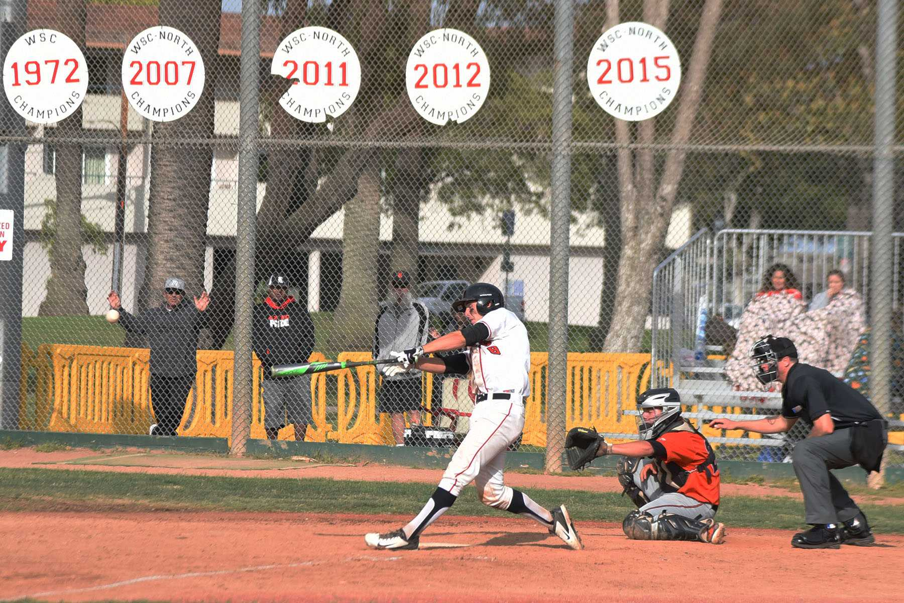 Vaquero sophomore catcher Andrew Cosgrove hits an RBI double in the bottom of the ninth inning to come within one run of Riverside City College in the wildcard playoff game on Tuesday, May 3, at Pershing Park in Santa Barbara. The Vaqueros could not keep the momentum going and lost 3-2.
