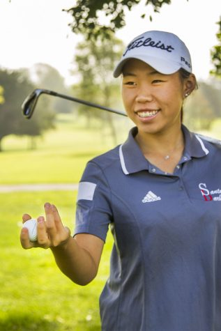 "International student Yu-Hsin Carolin Chang said, ""Confidence is really important, and motivation to work hard,"" on Wednesday, September 7, at the Santa Barbara municipal golf course in Santa Barbara. Chang won medalist honors at the South Coast Classic title for the second year in a row on Monday, August 29, 2016."