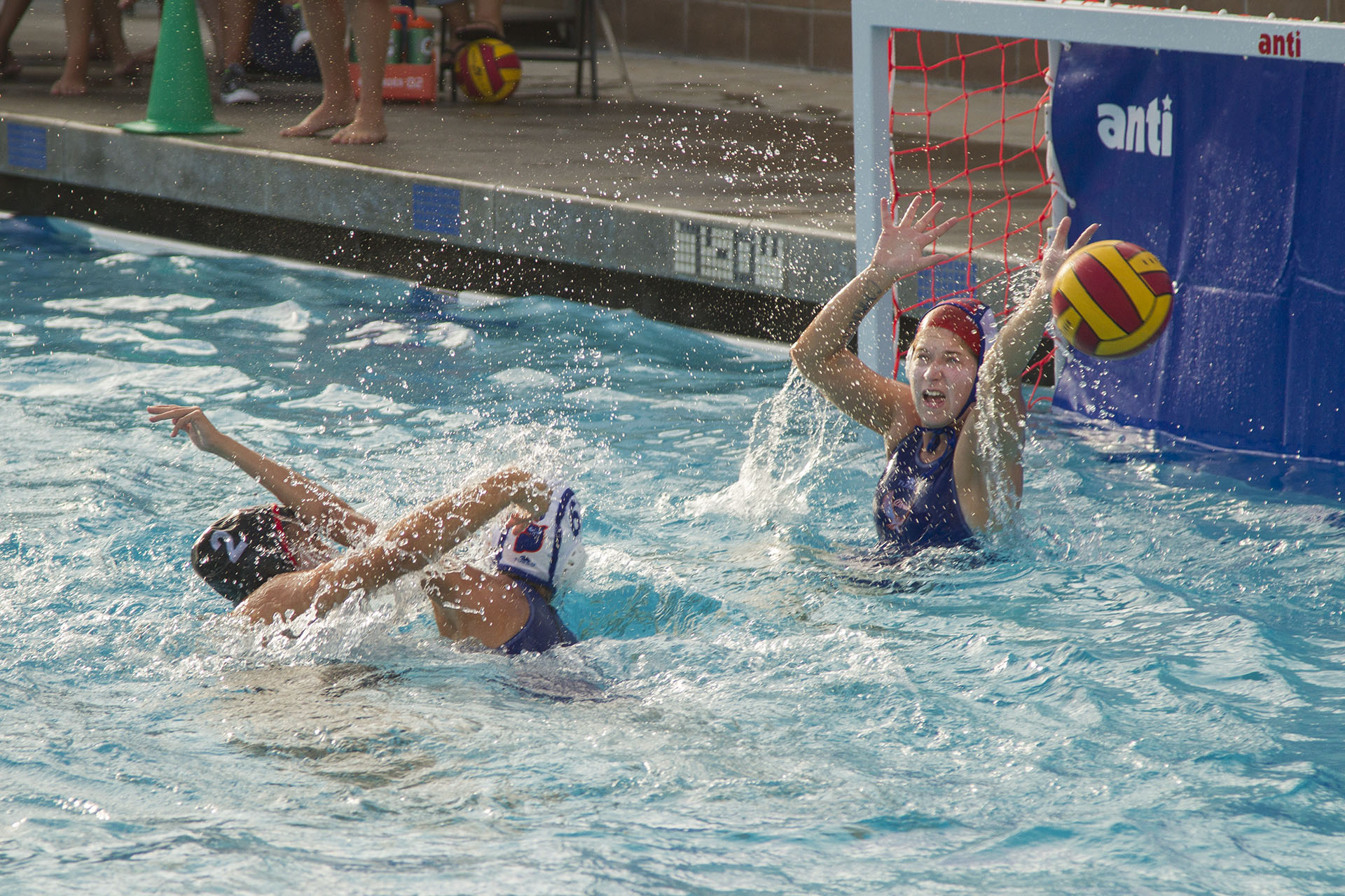 Santa Barbara City College Vaquero, Ivana Bilaver (No. 2) scores against Citrus College Owls, (from left) Gabriella Galbraith, and Delaney Moller on Wednesday, Sept. 21, at San Marcos High School. The Vaqueros defeated the Owls, 11-4 and Bilaver scored 4 of the 8 winning goals.