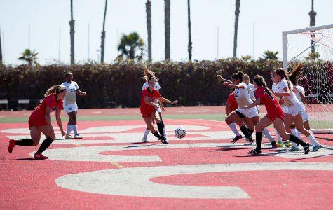 Josefine Von Der Burg (No.12) scores against West Hills College in the second half on Friday Sept. 23, La Playa Stadium. The Vaqueros won 5-0.
