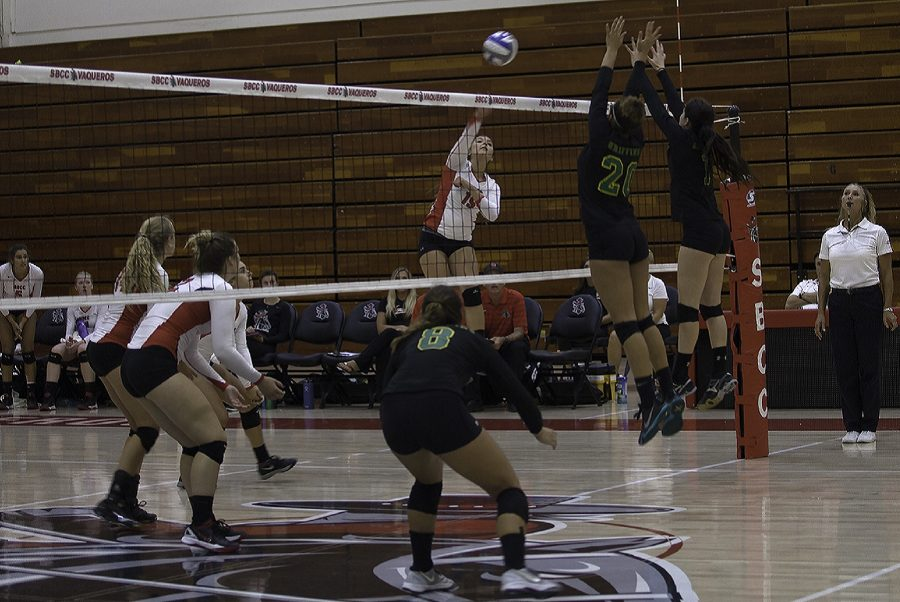 Stephanie Keenan (no. 19) scoring against Grossmont College in the last period off the volleyball game on Sept. 17, at City College. The Vaqueros defeated Grossmont, 3-1.