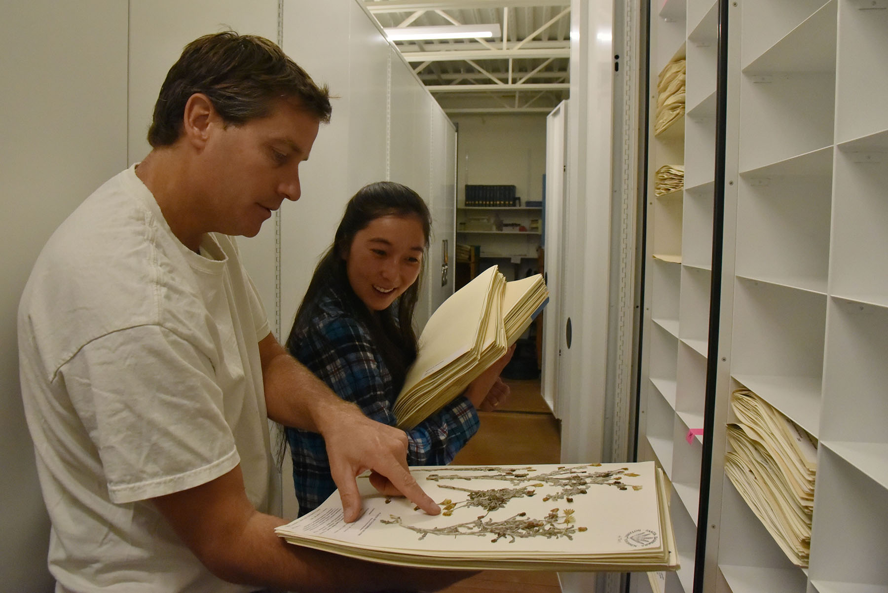 Matthew Kay, a botany instructor at City College, shows Kara Kang, botany major, a plant specimen from the 100 thousand they were filing on Thursday, Sept. 8, at the Santa Barbara Botanical Gardens. Several City College students helped transfer the garden's entire herbarium collection to the new Pritzlaff Conservation Center.