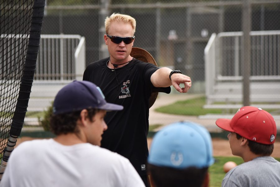 Baseball+head+coach+Jeff+Walker+explains+the+strategies+behind+hitting+during+off-season+practice+on+Wednesday%2C+Sept.+7%2C+at+Pershing+Park.+Walker+was+recently+hired+as+a+full+time+faculty+member.