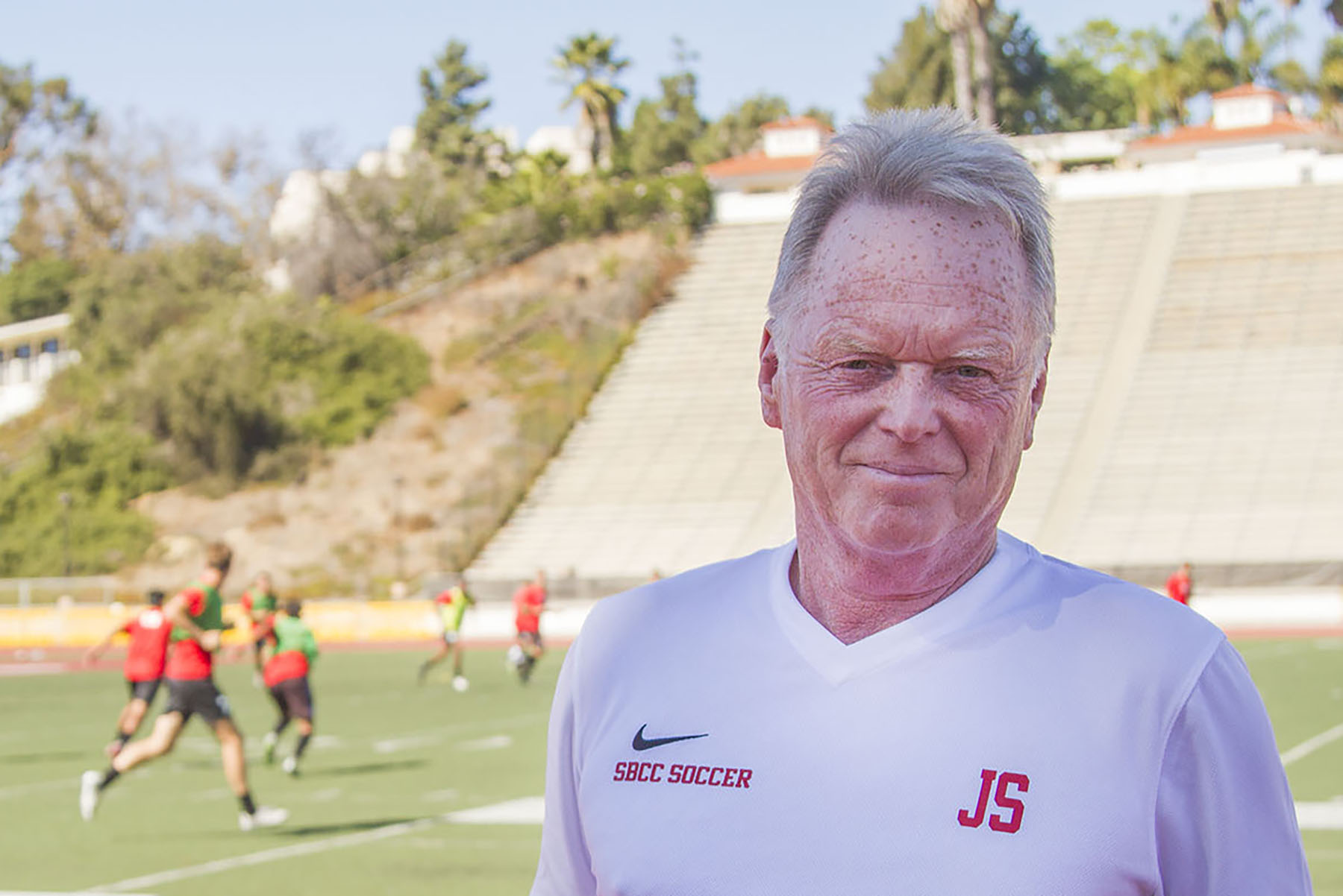 John Sisterson, City College soccer head coach, during a men's soccer practice on Friday, Oct. 21, at La Playa Stadium. Sisterson became the winningest men's soccer coach in City College history by leading the soccer team to its 121 win in his 10th season.