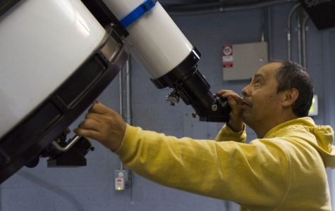 Javier Rivera, astronomy programs manager at the Santa Barbara Museum of Natural History, demonstrates the functions of the new telescope on Tuesday, Oct. 4, in the Palmer Observatory at the Santa Barbara Museum of Natural History. The telescope has same mirror organization design as the Hubble Telescope, with large magnification that is ideal for viewing objects in deep space.