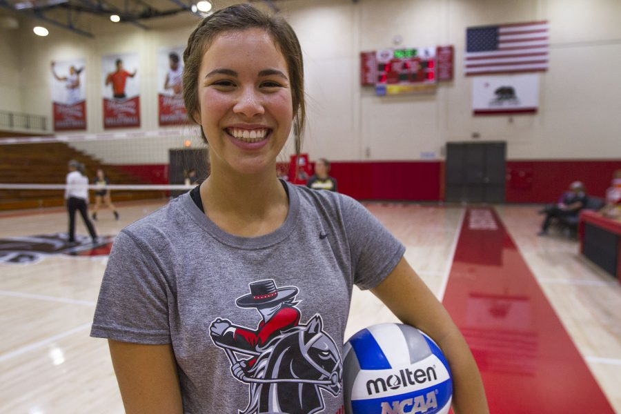 Kaylene Ureno, City College freshman volleyball player, has been a valuable member of the team with securing a 14-3 record, Tuesday Oct. 4, in the Sports Pavilion at City College. The Santa Barbara Athletic Round Table also selected Ureno for athlete of the week on Sept. 19.