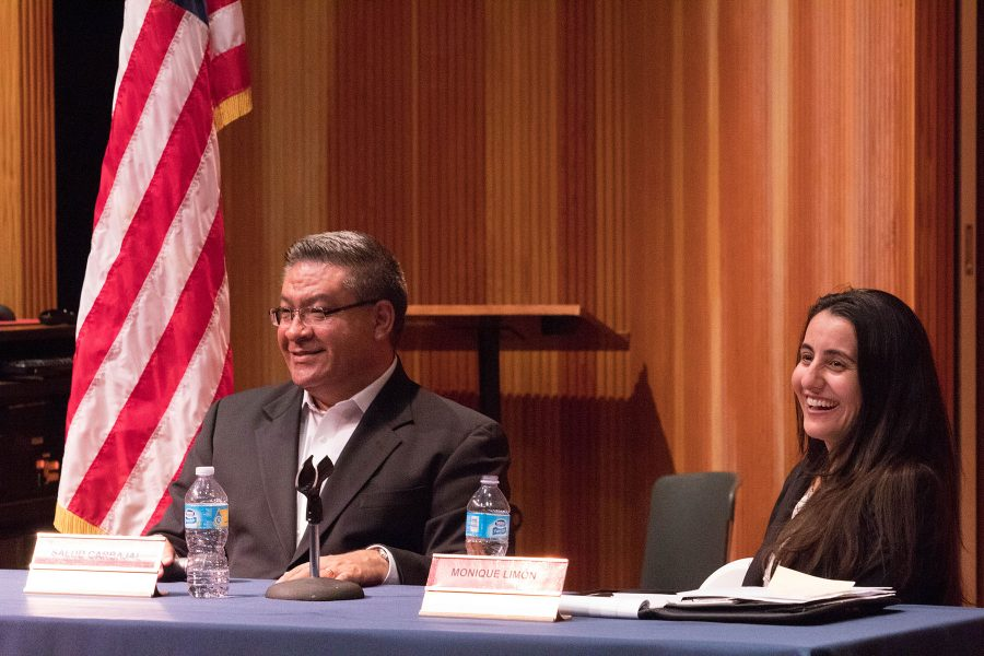 """Salud Carbajal, candidate for United States representative, and Monique Limón, candidate for California State Assembly member, respond to student questions about what they plan to do if they are elected at the """"Pondering Politics"""" Democratic forum on Tuesday, Oct. 18, in the Fé Bland Forum at City College. City College's Phi Theta Kappa International Honors Society hosted the event."""